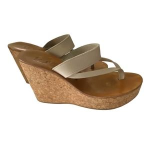 K Jacques St Tropez Saturnin Cork Wedge Sandals White Leather Upper Size 39